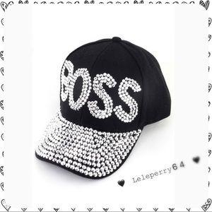 Boss... Rhinestone Studded Cap